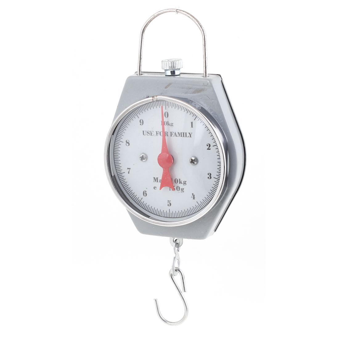 Gray Silver Tone Measure Tool Max Capacity 10Kg Portable Handheld Scale