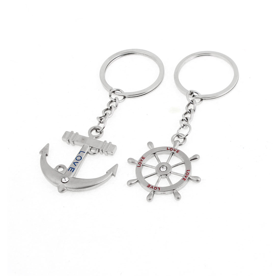 Couple Silver Tone Metal Love Print Rudder Anchor Shape Keyring Key Chain