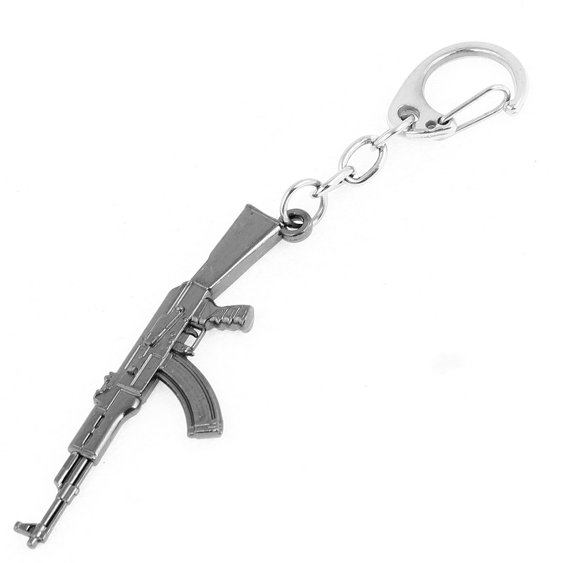 Gray Metal Gun Model Design Pendent Keychain Keyring Bag Decoration
