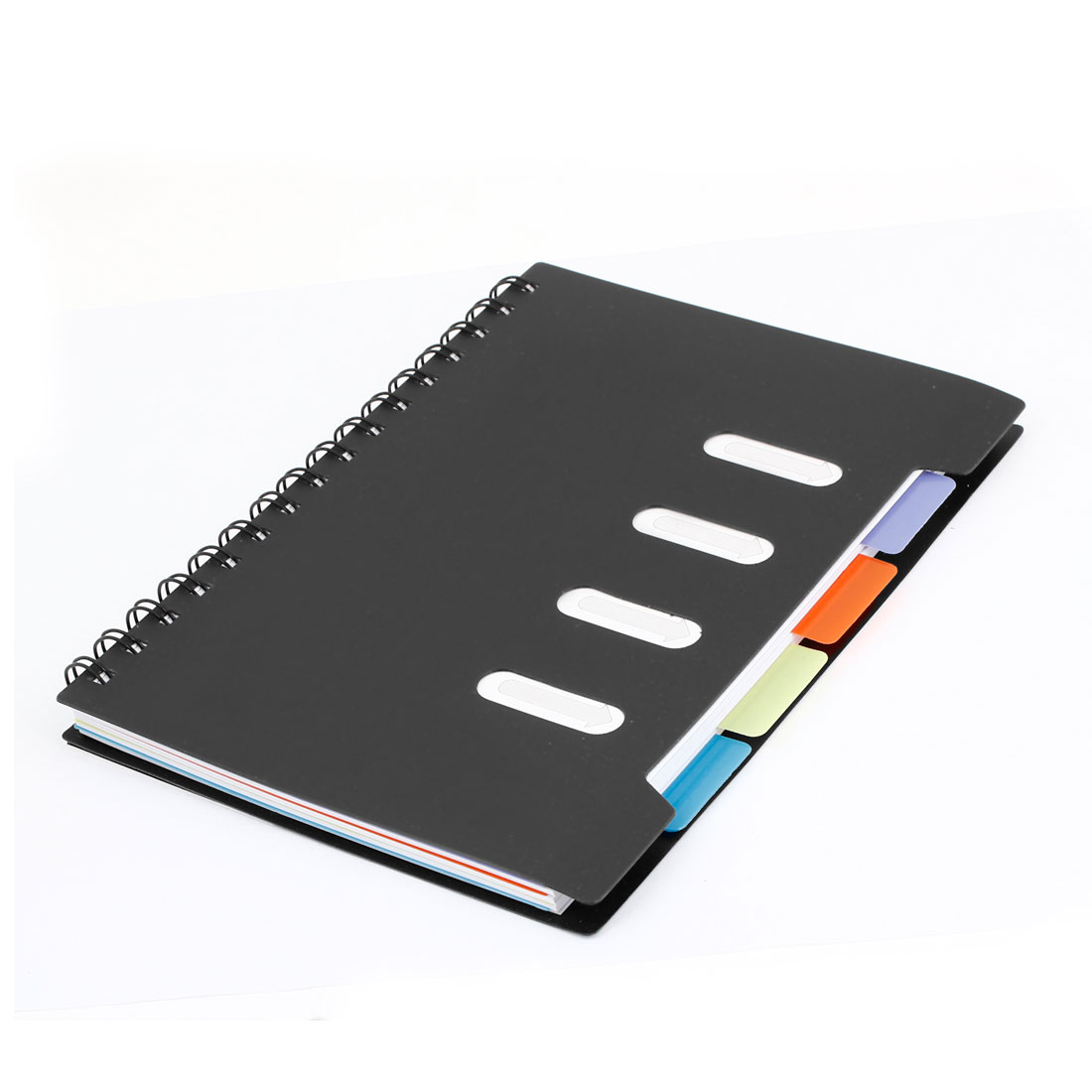 215mm x 168mm Black Hard Plastic Cover Ruler Design Wire Bound Notebook
