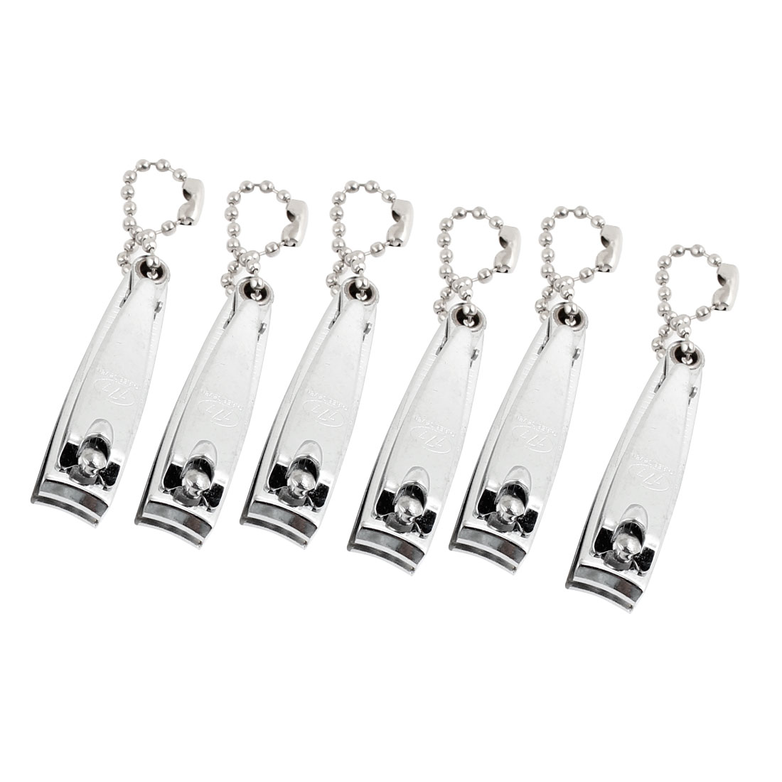 Manicure Beauty Tool Metal Finger Nail Clipper Cutter Silver Tone 6Pcs w Keychain