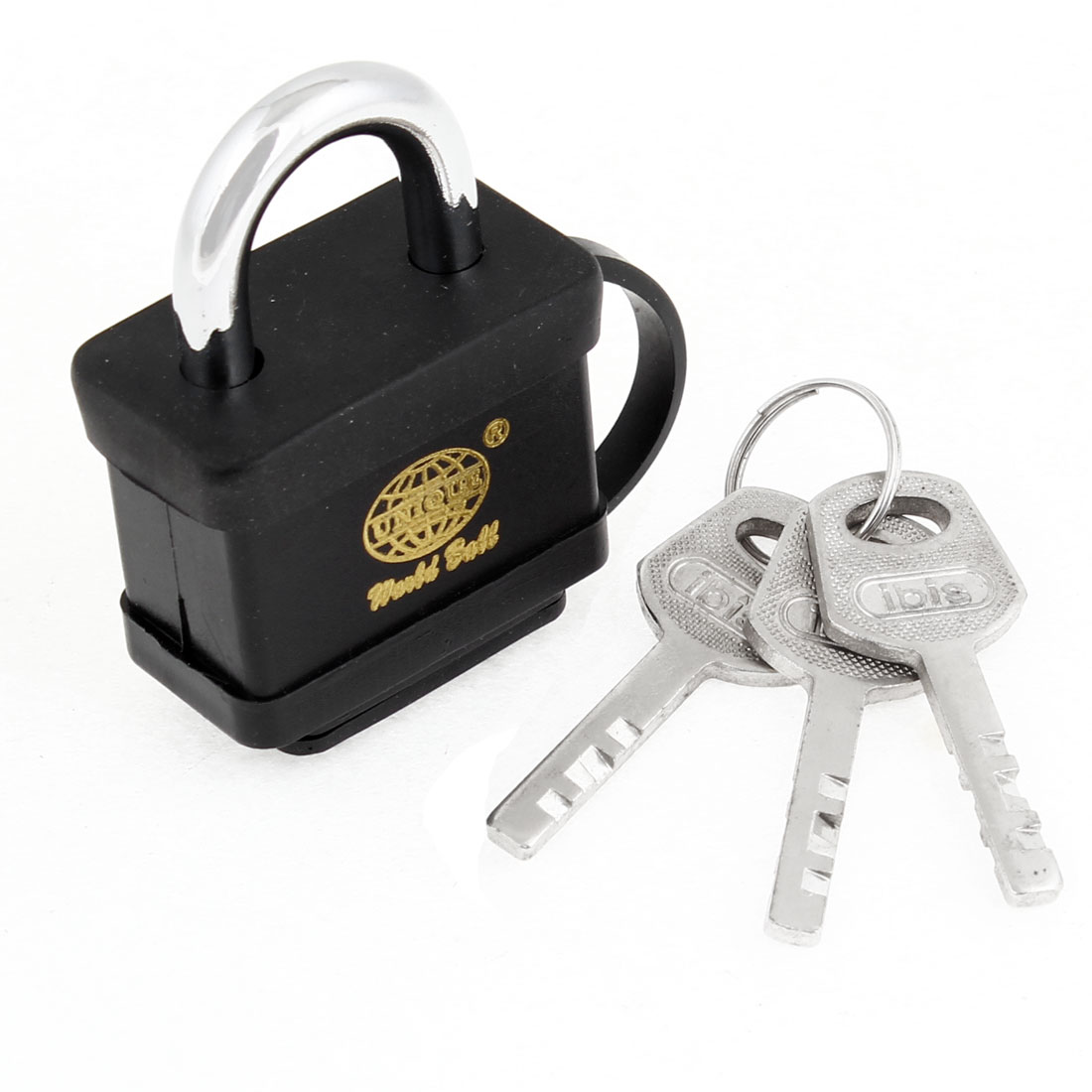Security Family Office Door Gate Black Waterproof Lock w 3 Keys Padlock