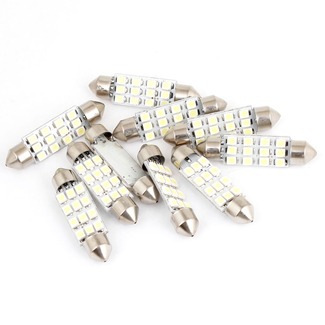 41mm White 12 1210 SMD Festoon LED Light Dome Map Lamp Bulb 10pcs for Auto