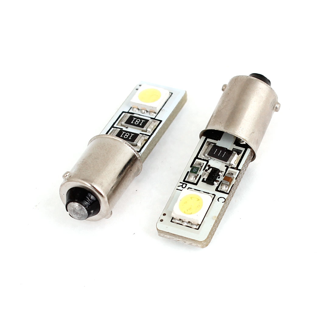 2PCS BA9S 2 LED 5050 SMD Canbus Turn Back up Light Bulb White for BMW Benz
