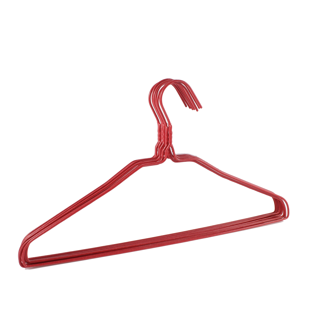10 Pcs Red Plastic Metal 13.8inches Long Hangers for Hook Clothes Trousers