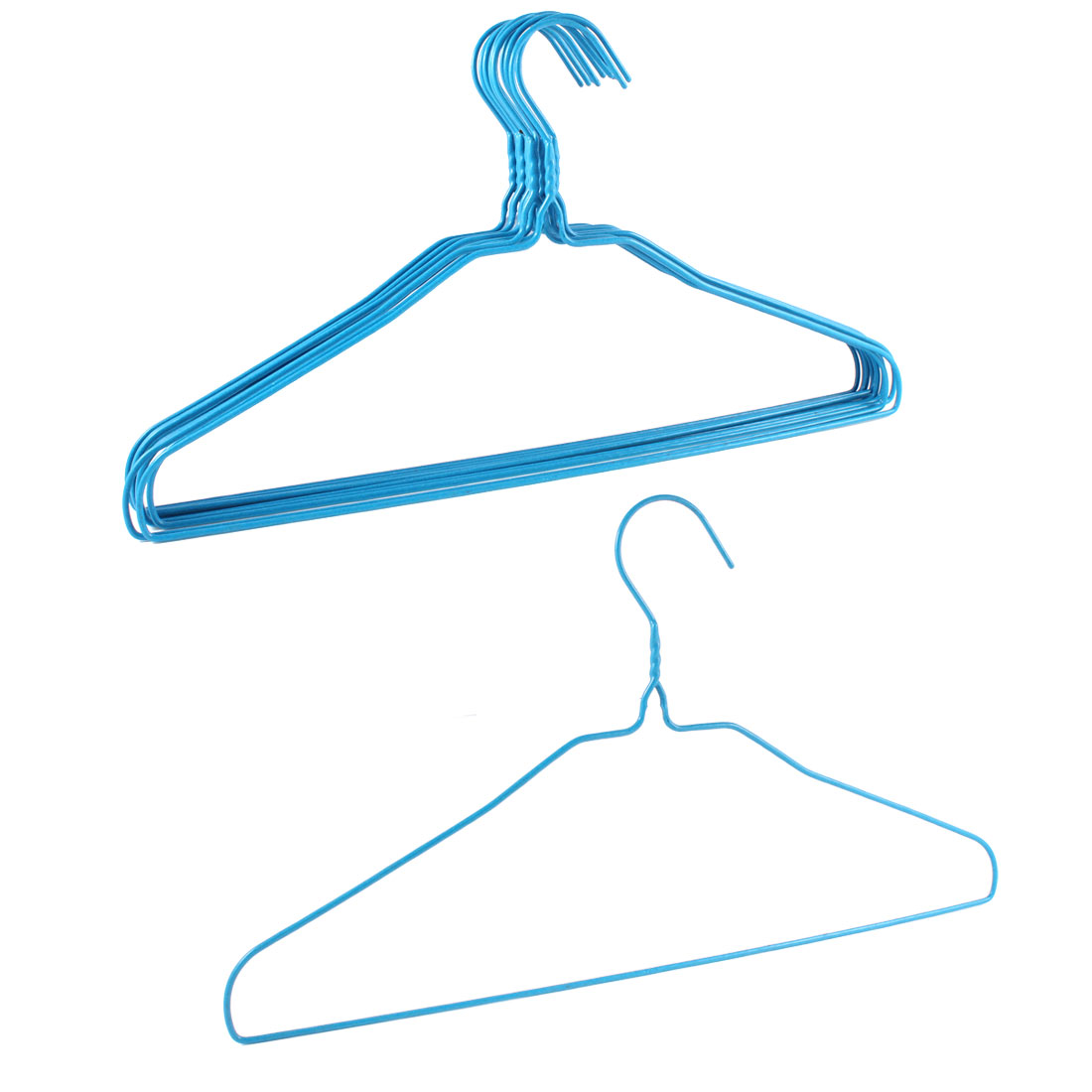 10 Pcs Blue Plastic Metal Outdoor Indoor Coated Clothes Hanger