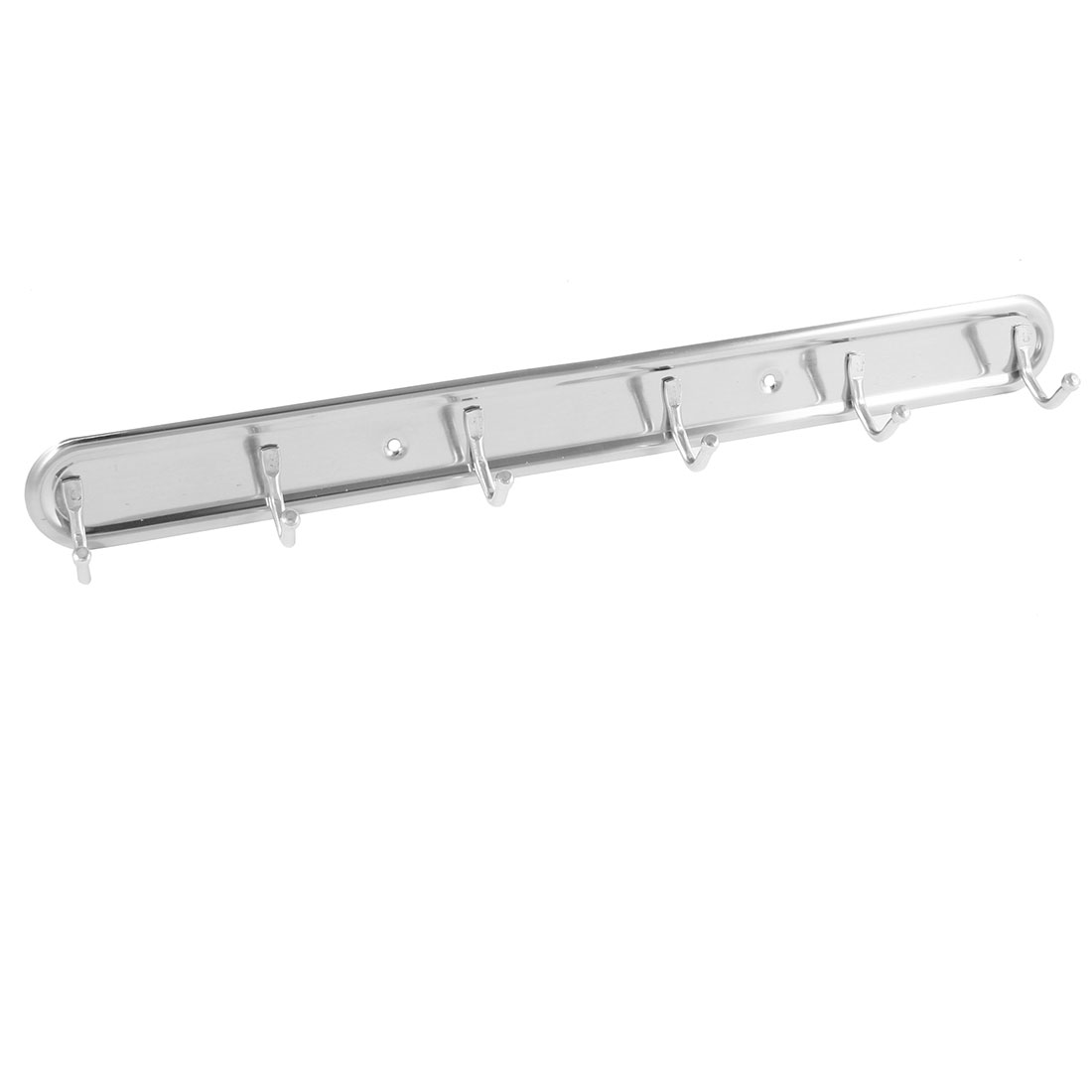 Silver Tone Stainless Steel 6 Hooks Wall Hanger Towel Coat Rack