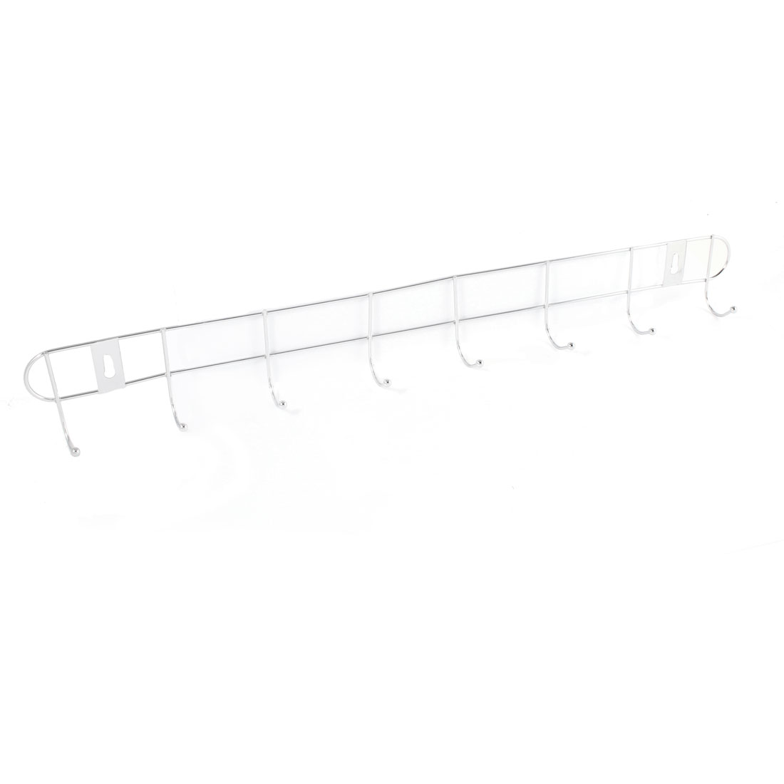 Silver Tone Ball End 8 Hooks Stainless Steel Rack Clothes Towel Wall Hanger