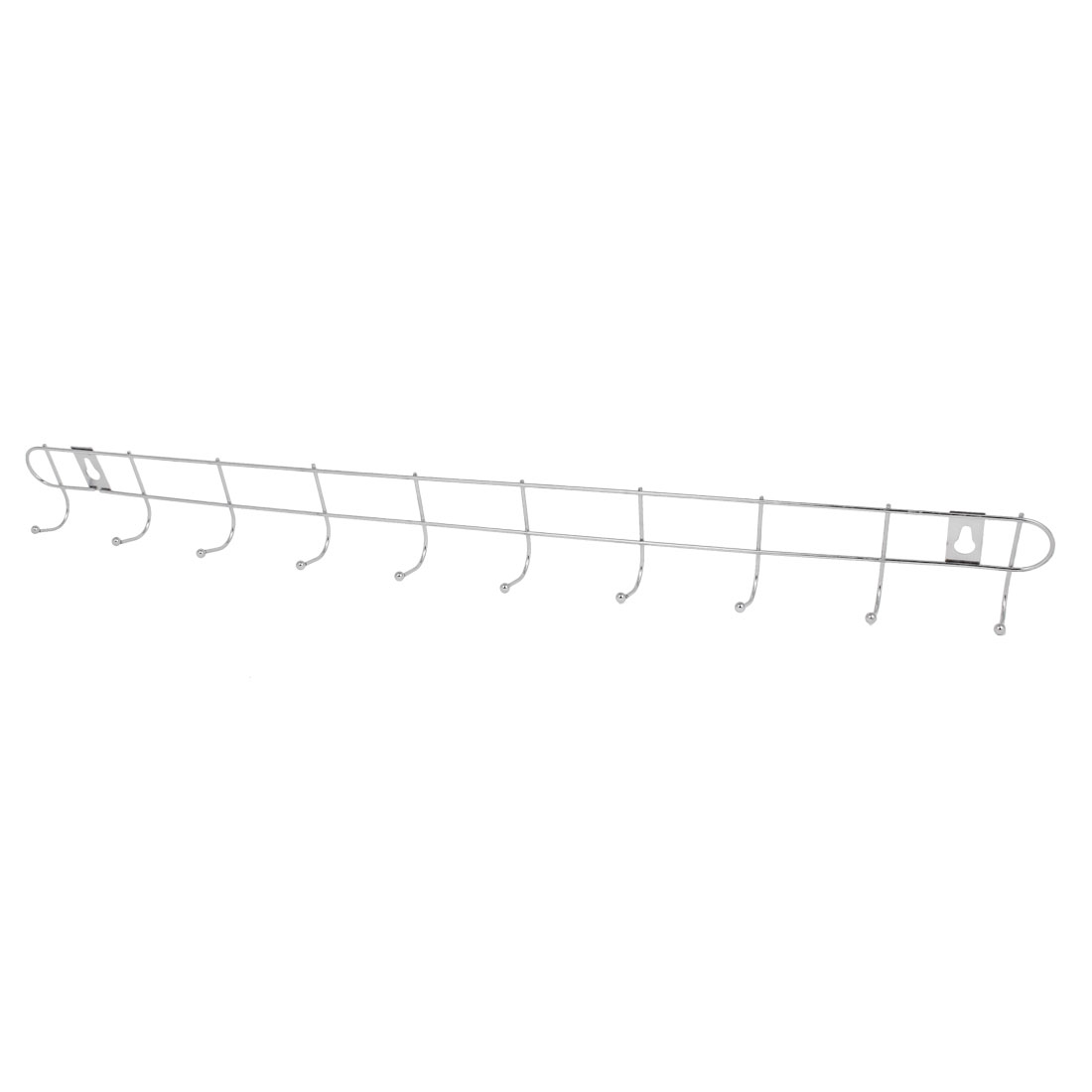 Home Silver Tone Ball End 10 Hooks Metal Rack Clothes Towel Wall Hanger