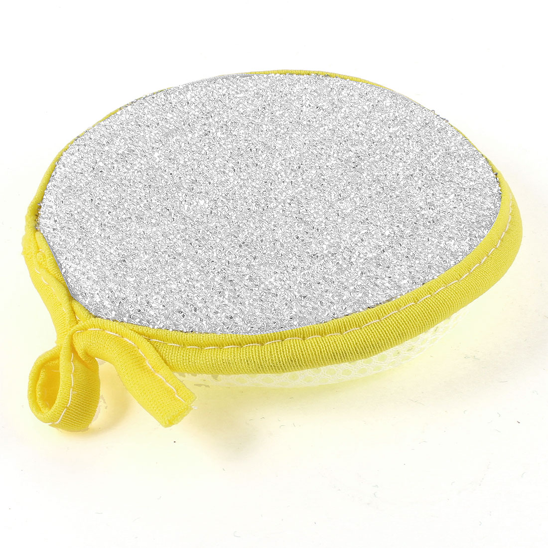 Silver Tone Plastic Surface White Mesh Net Sunflower Sponge Cleaning Pad