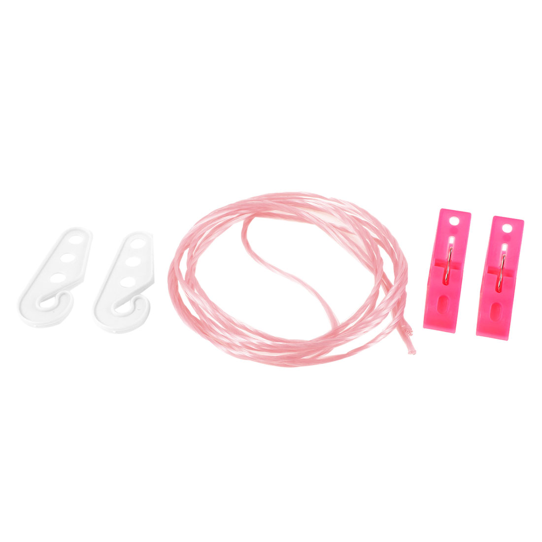 2M Long Pink Twisted Nylon String Clothes Line w 2 Pcs White Hook