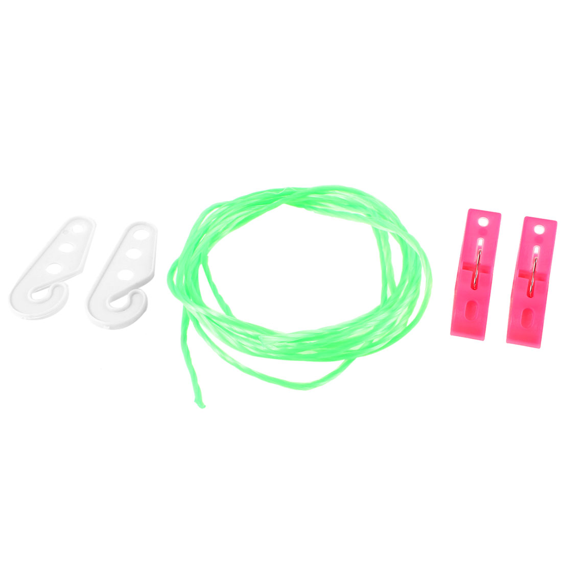 2M Long Green Twisted Nylon String ClothesLine w 2pcs Clothes Pegs Clips
