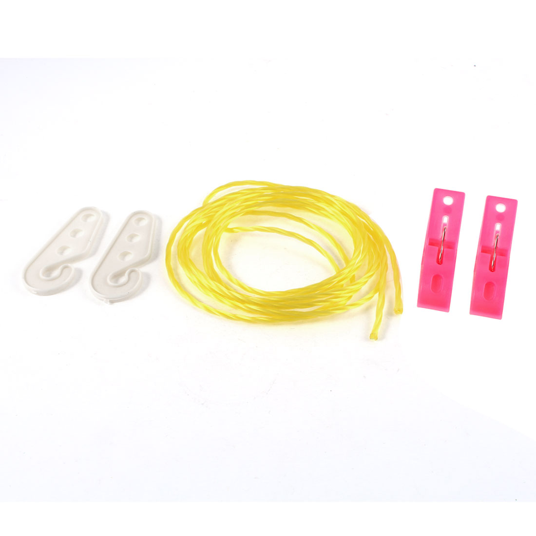 2M Long Yellow Twisted Nylon String Clothesline w 2 Pcs Clothes Pins