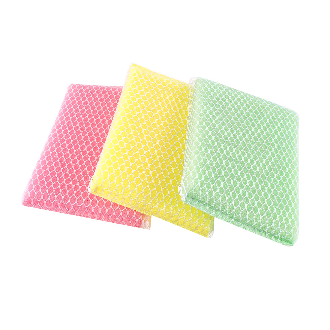 3 Pcs White Rectangle Netting Three Colors Sponge Washinbg Block