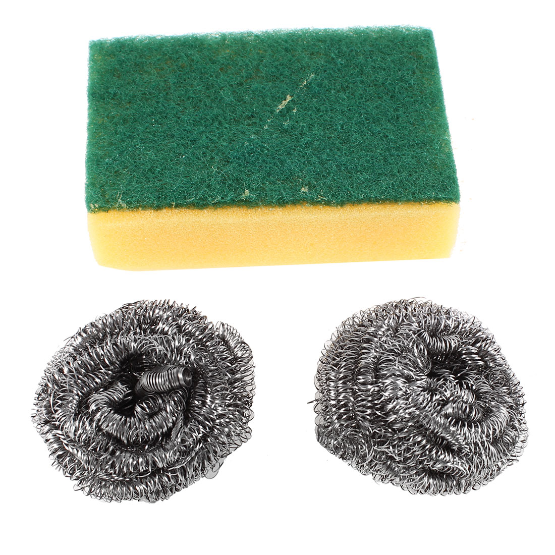 1 Pcs Yellow Green Scouring Pad 2 Pcs Metal Cleaning Ball