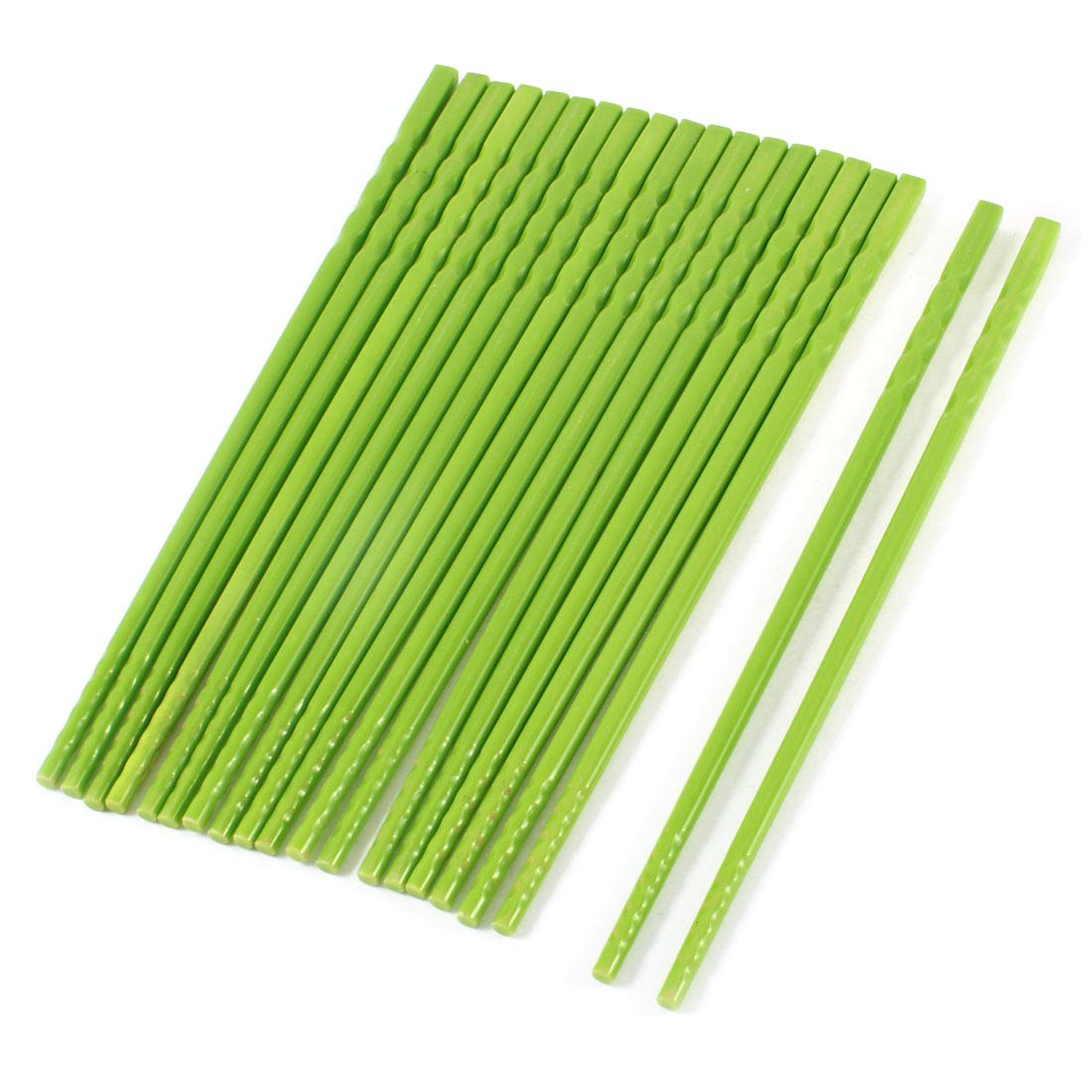 10 Pairs Green Detachable Durable Plastic Chopsticks 22.5cm Long