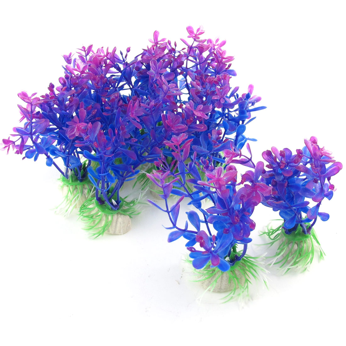 "10 Pcs 3.9"" Height Purple Plastic Water Grass Decoration Plants for Fish Tank"