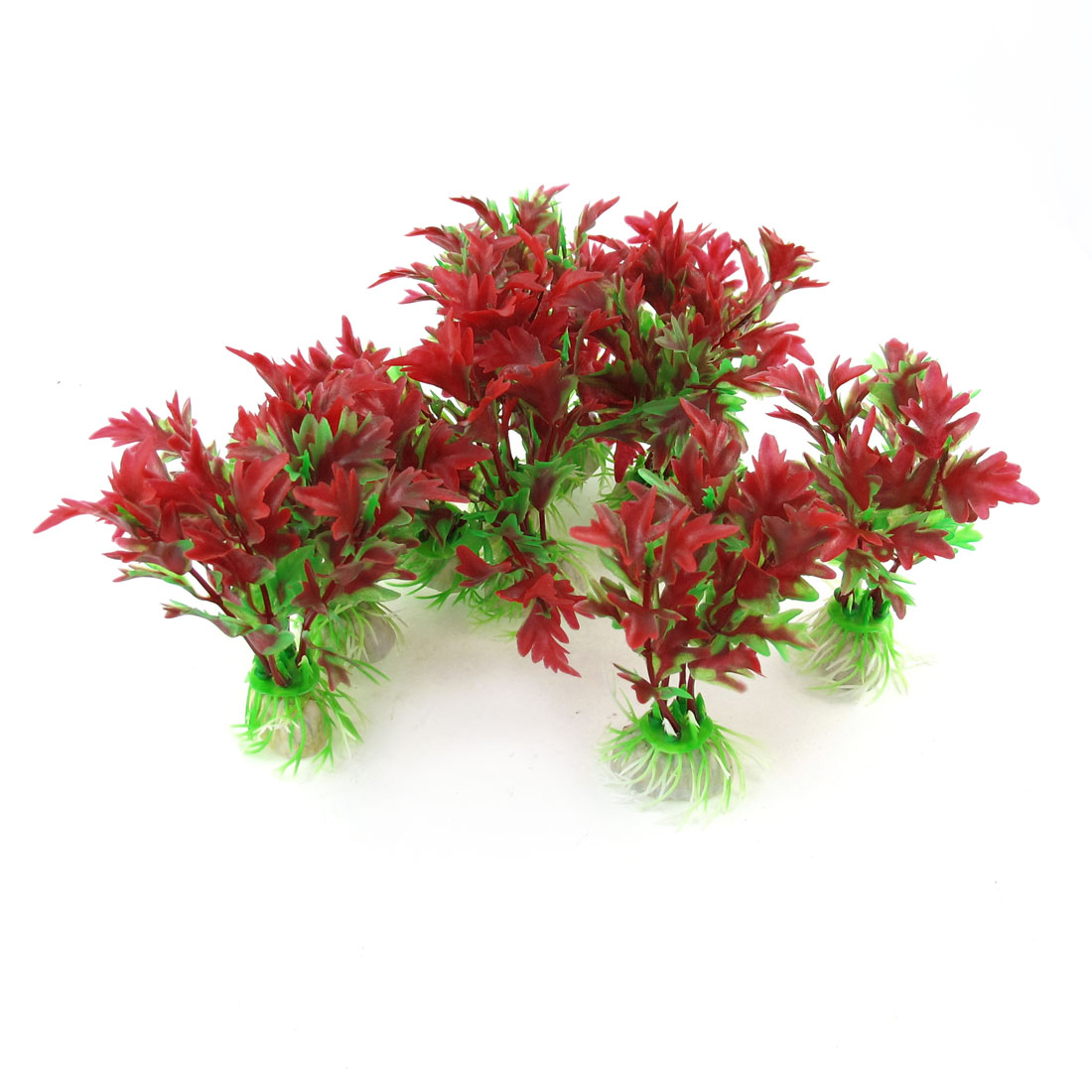 "10 Pcs 4.1"" Height Red Green Plastic Water Grass Decoration Plants for Fish Tank"