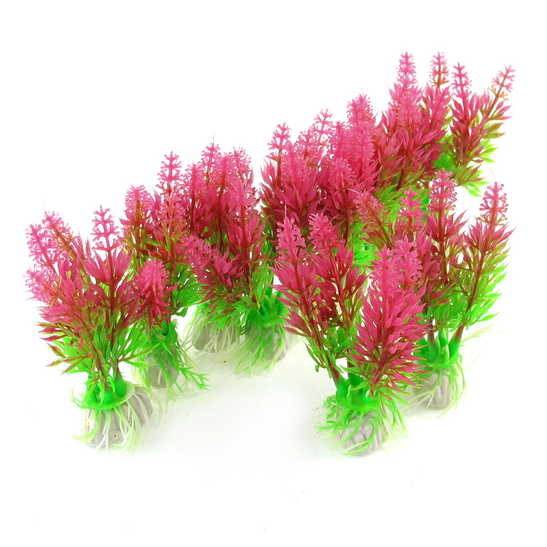 10 Pcs Height Red Green Emulational Water Grass Decor Plants for Fish Tank 3.9""