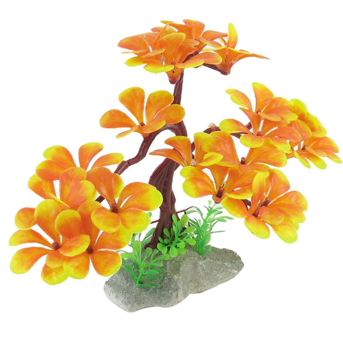"5.3"" Height Plastic Yellow Orange Leaves Aquarium Underwater Tree Plants for Fish Tank"
