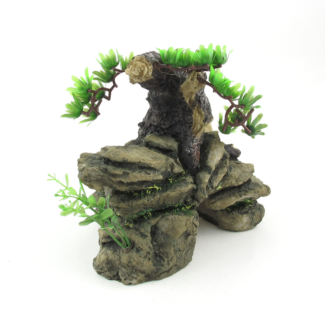 "6.3"" Height Atificial Aquarium Landscaping Green Pine Design Rockery Ornament"