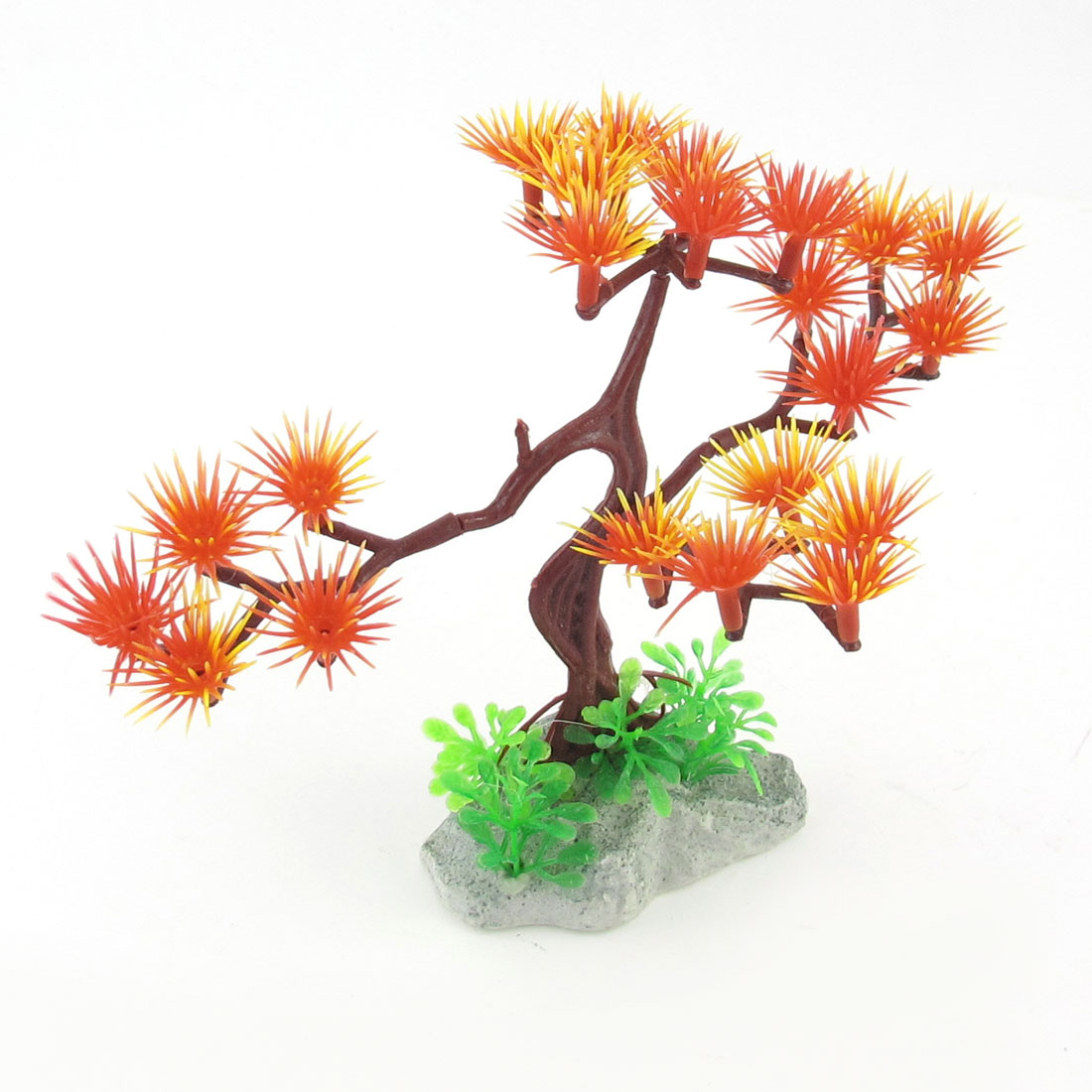 "5.9"" Height Manmade Yellow Red Aquarium Underwater Pine Tree Plants for Fish Tank"