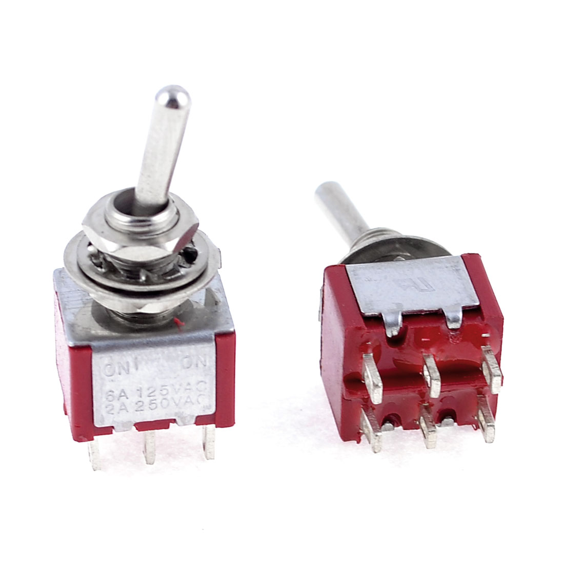 2 Pcs AC 125V 6A 250V 2A 6 Pin DPDT On/On 2 Position Mini Toggle Switch Red