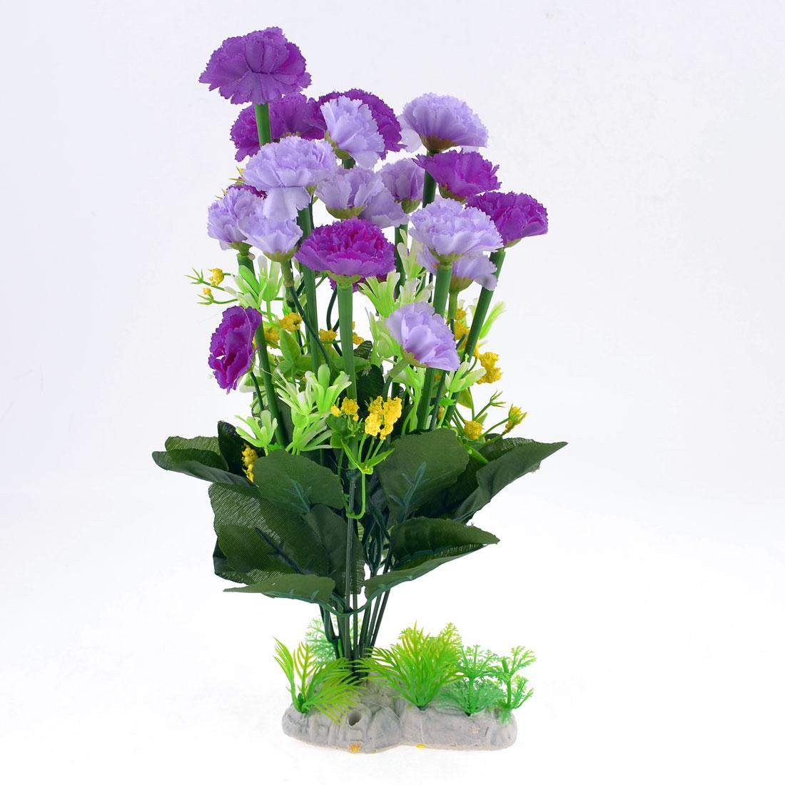 """Fish Tank Aquarium Decor Plastic Carnations Grass Plant 12.6"""" Dark Green Purple"""