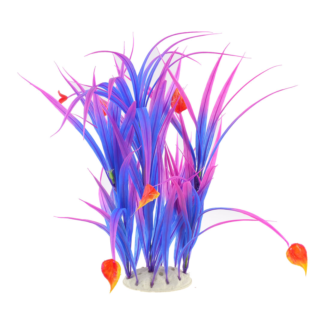 "Aquarium Ceramic Base Long Point Leaf 15.7"" Plant Grass Blue Purple Red"