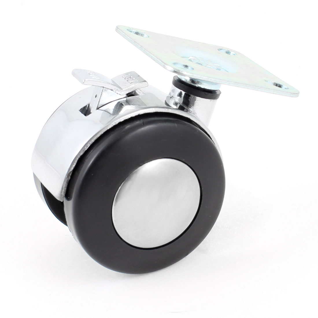 47mm Mounted Plate 50mm Plastic Dual Wheel Rotatable Caster W Brake Lock
