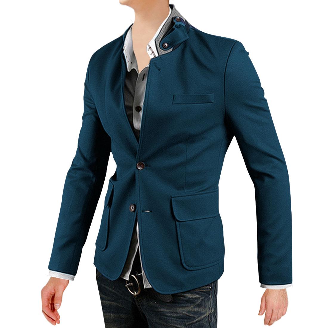 Men Convertible Collar Long Sleeve Blazer Turquoise M