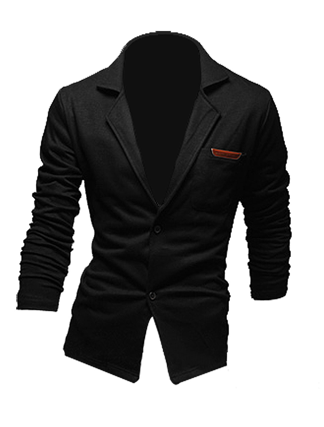 Men Peaked Lapel Two Button Up Pocket Blazer Black M