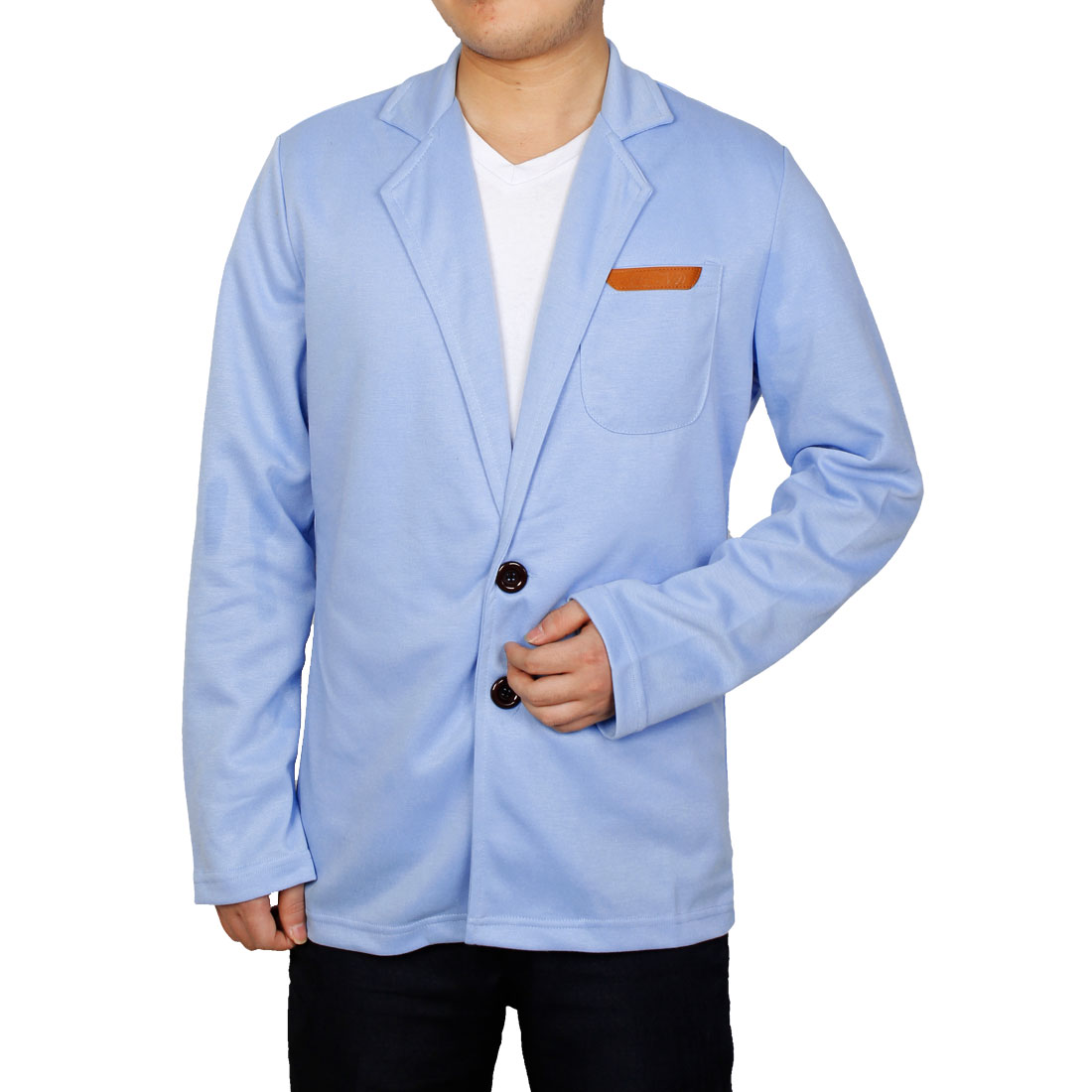 Men Button Closure Long Sleeve Blazer Light Blue M