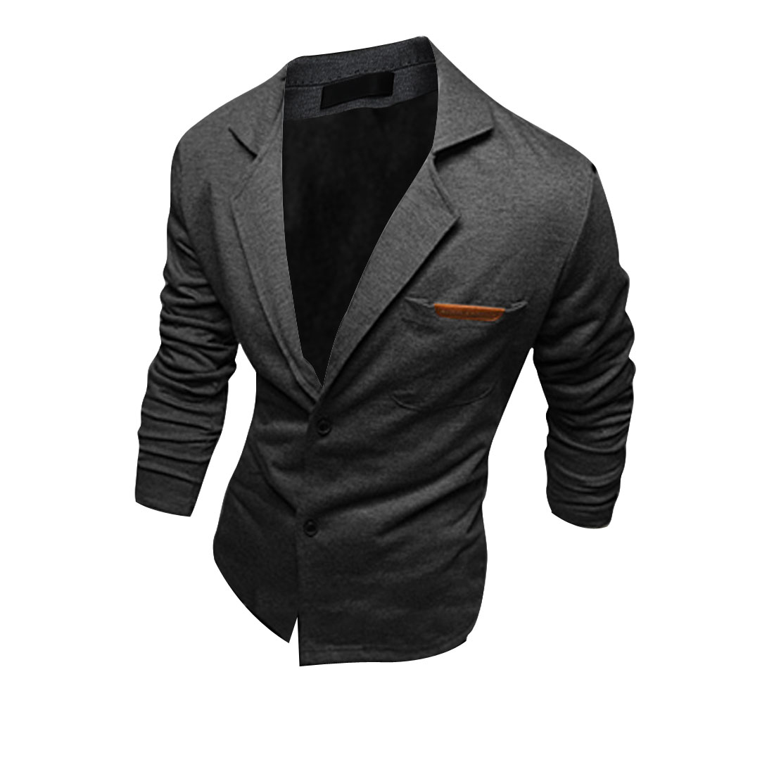 Men Peaked Lapel Long Sleeve Stretchy Blazer Dark Gray M