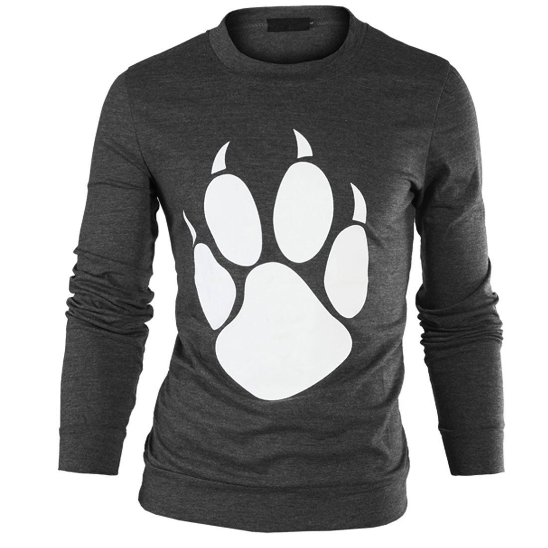 Man Stylish Dark Gray Color Bear Paw Pattern Design Casual T-Shirt M