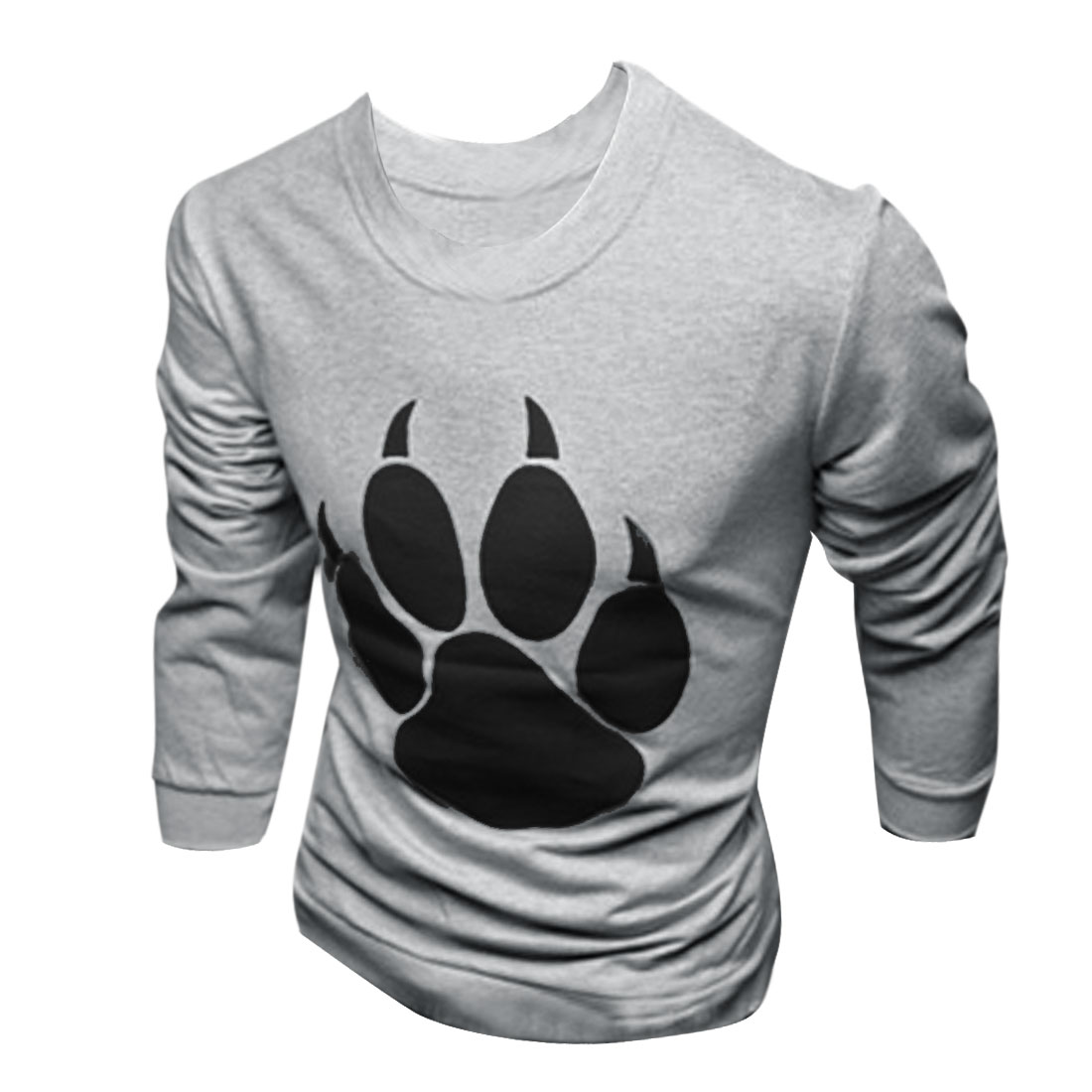 Mens Round Neck Long Sleeve Chic Bear Paw Pattern Light Gray Tee Shirt M