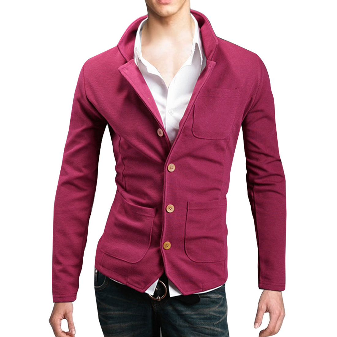 Men Stand Collar Button Down Pockets Front Coat Fuchsia M