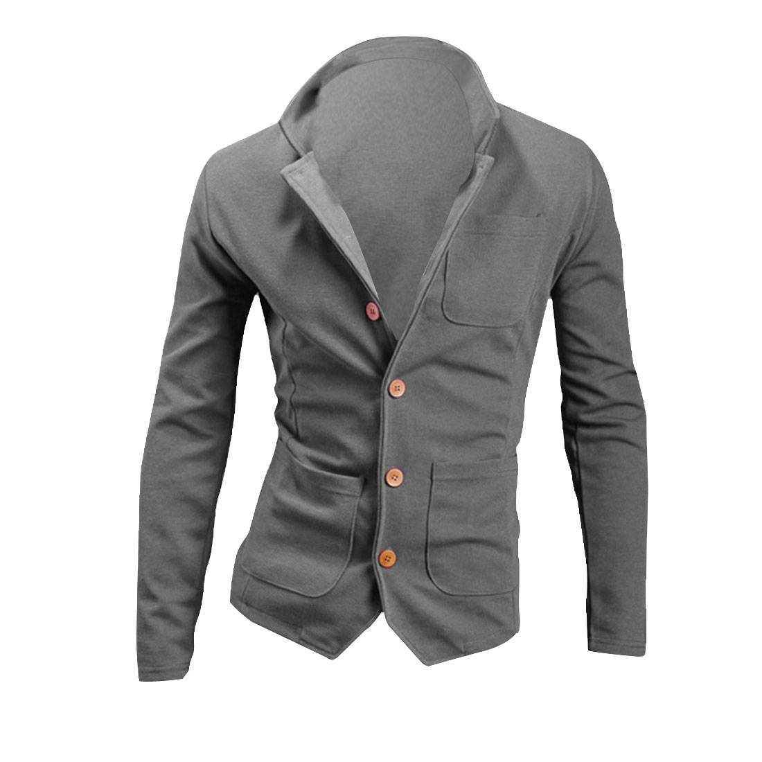 Men Single Breasted Long Sleeve Stretchy Coat Gray M
