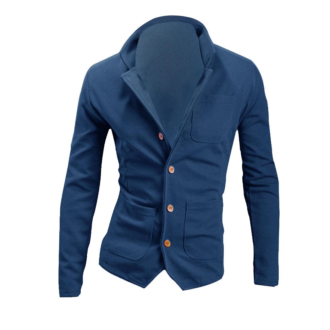 Men Stand Collar Long Sleeve Chest Pocket Coat Dark Blue M