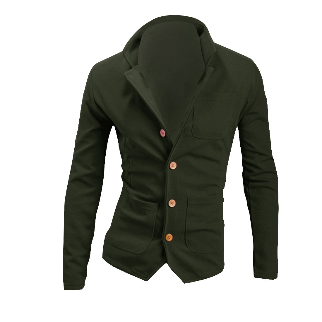 Men Button Closure Pockets Spring Autumn Coat Army Green M