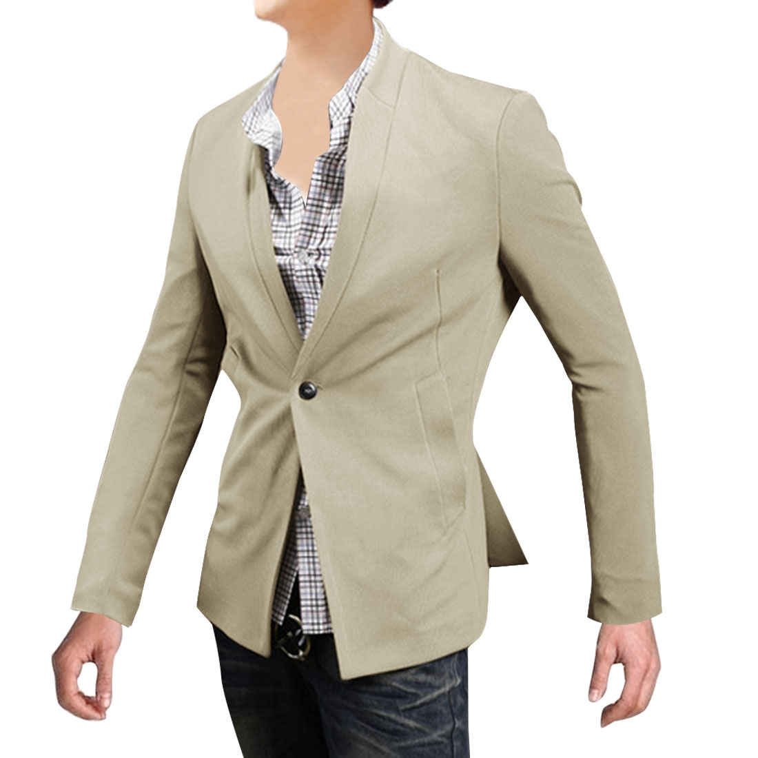 Men Stand Collar Long Sleeve Pockets Blazer Beige M