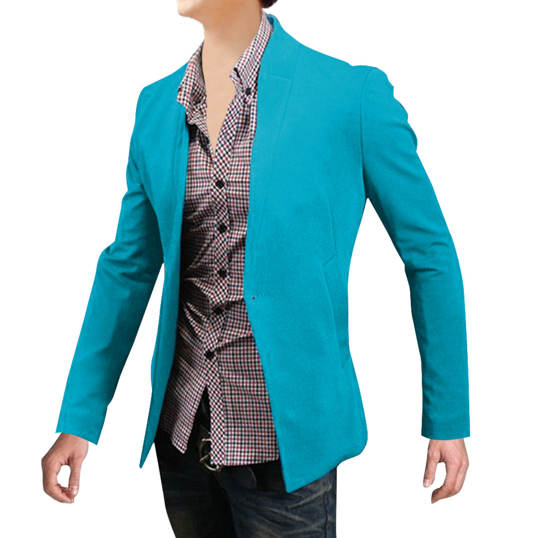 Men Stand Collar One Button Closure Blazer Turauoise M