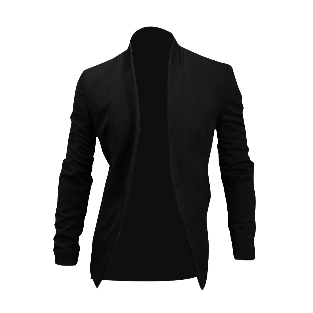 Men One Button Up Long Sleeve Pockets Front Blazer Black M