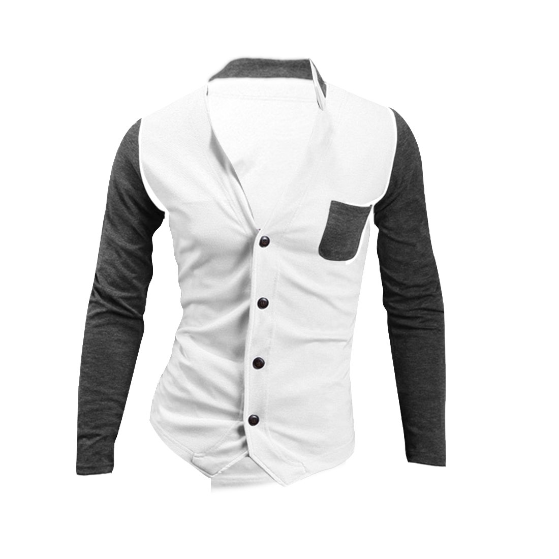 Single-Breasted Front Contrast Color White Dark Gray Shirt for Man L