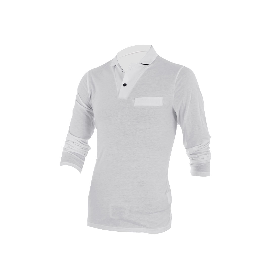 Men Convertible Collar Long Sleeve Polo Shirt White M