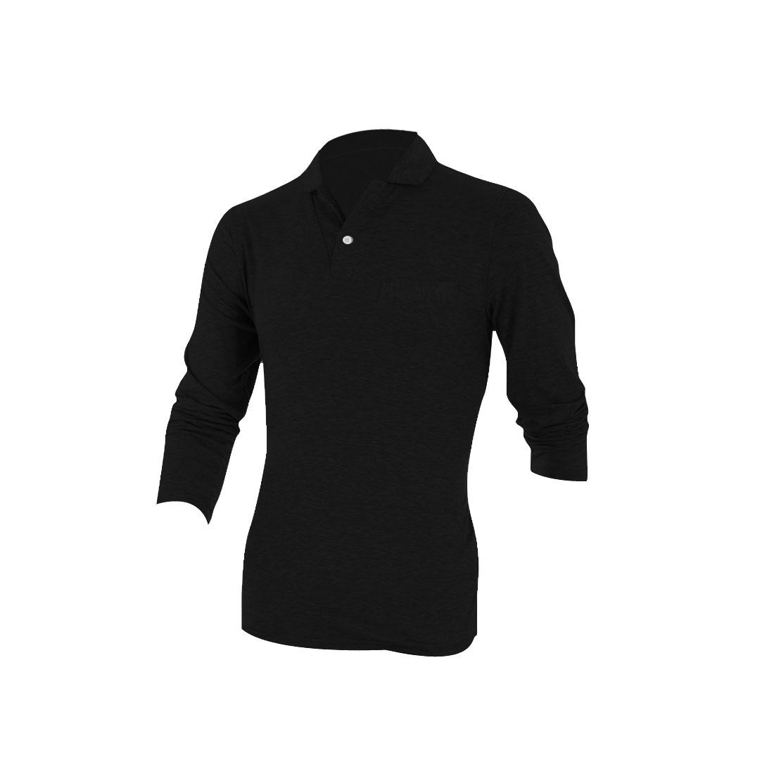Men Convertible Collar Fake Pocket Polo Shirt Black M