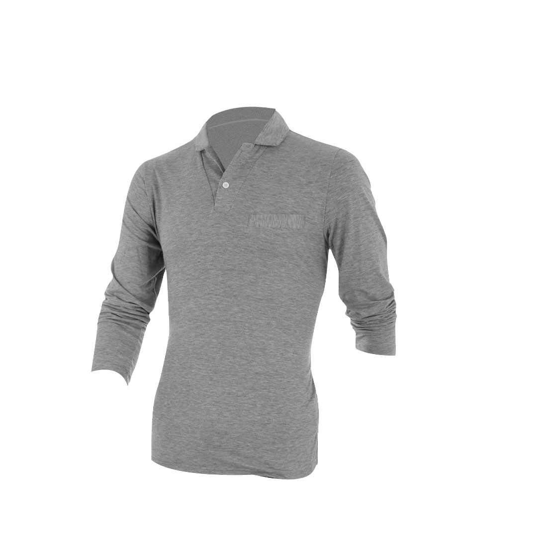 Men Long Sleeve Pullover Stretchy Polo Shirt Light Gray M