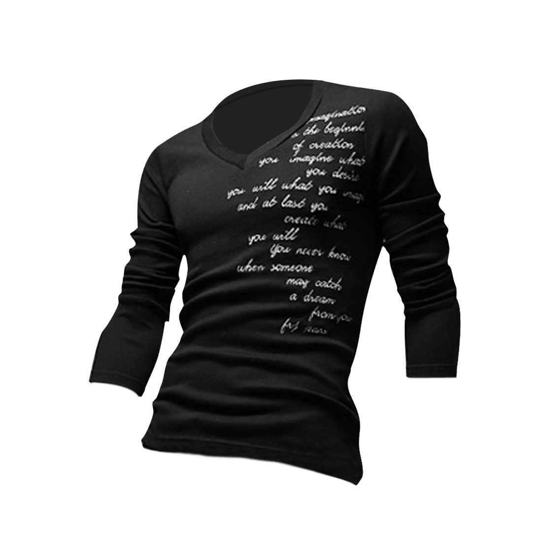 Men V Neck Letters Embroidery Stretchy Shirt Black M