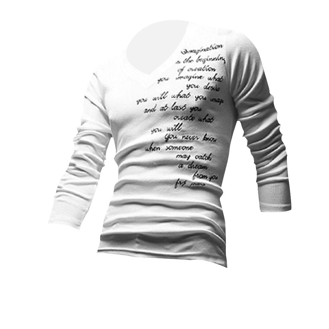 Men Long Sleeve Spring Autumn Wearing Shirt White M