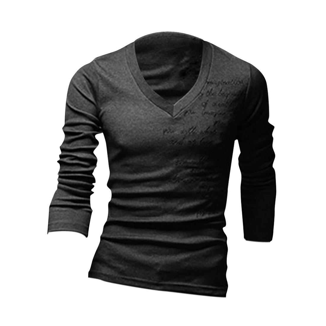 Men Long Sleeve Pullover Embroidery Decor Shirt Dark Gray M